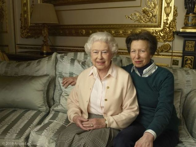 The Queen with her only daughter, The final image features the queen seated alongside her only daughter, Princess Anne.