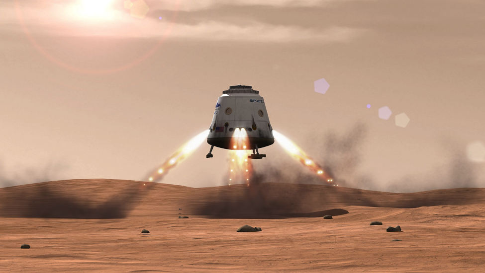 A conceptualized Red Dragon landing on Mars