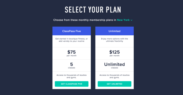 ClassPass is offering different plans and pricing