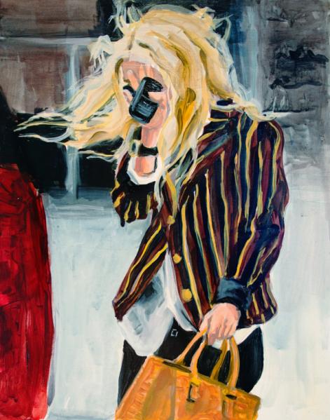 An Olsen hiding behind a Blackberry