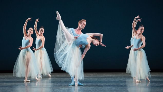 Simone Messmer, Rainer Krenstetter and Miami City Ballet dancers in Serenade, by George Balanchine.