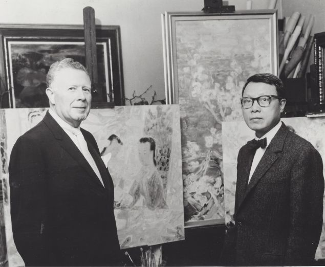 Art dealer Wally Findlay, Jr. (left) and artist Le Pho (right).