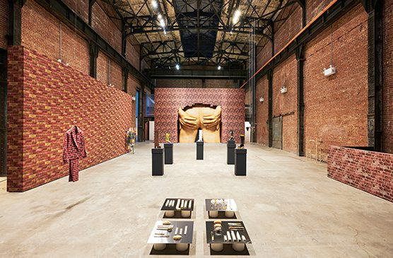 """Anthea Hamilton's exhibition """"Lichen! Libido! Chastity!"""" at SculptureCenter in 2015."""