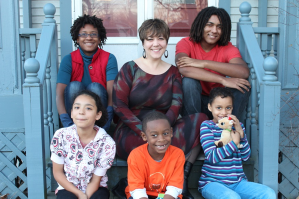 The author with five of her children in 2012.