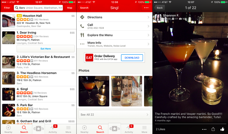"Yelp subtly reframes the group's need ""where can we go to keep talking?"" in terms of photos of cocktails served."