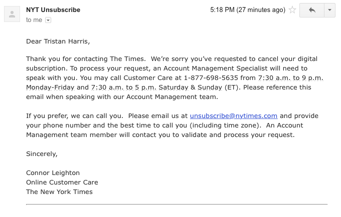 NYTimes claims it's giving a free choice to cancel your account