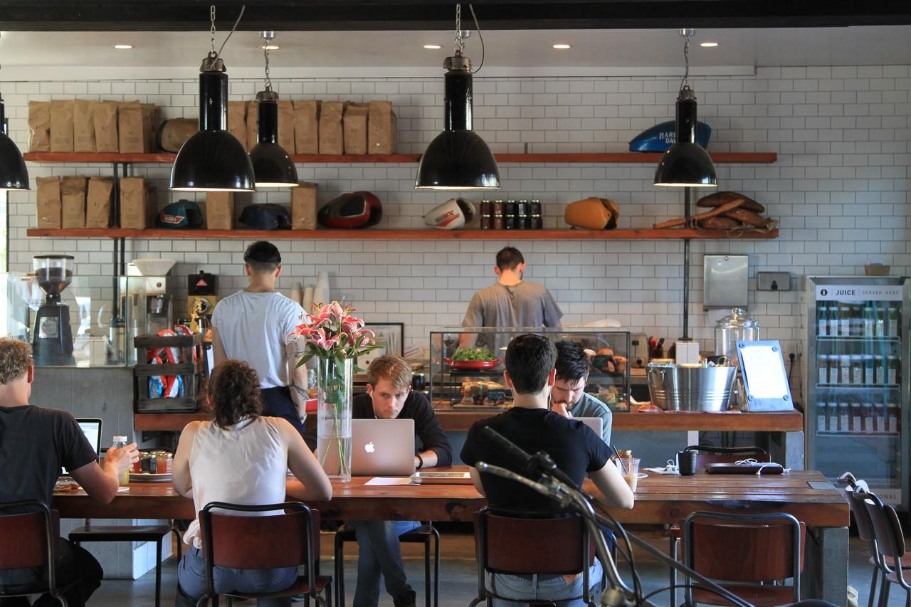 Inside the Deus Ex Machina cafe.