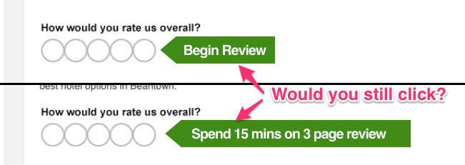 "TripAdvisor uses a ""foot in the door"" technique by asking for a single click review (""How many stars?"") while hiding the three page survey of questions behind the click."