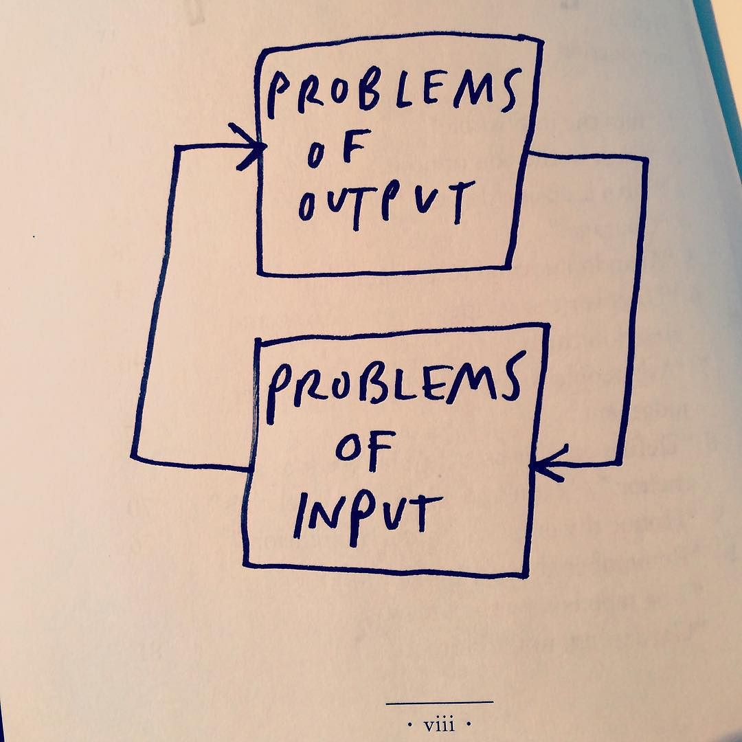Problems of output are usually problems of input. —Austin Kleon