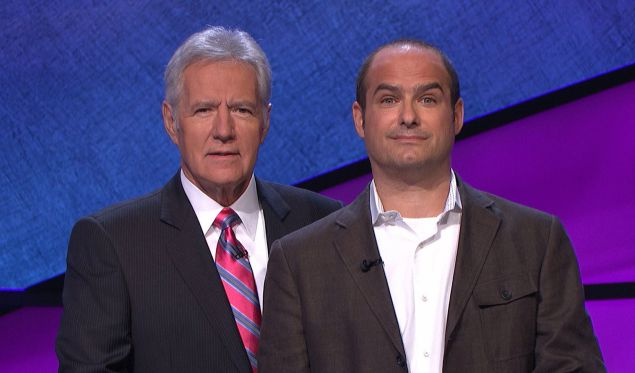BFFs Alex Trebek and Neal Pollack pose on the set of Jeopardy