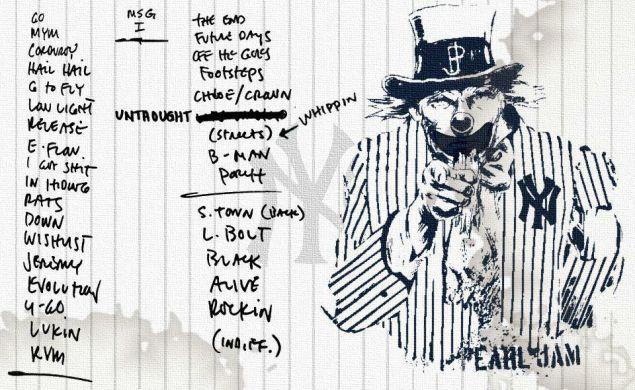Pearl Jam's set list.