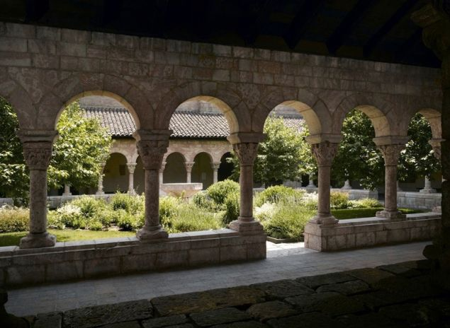 View of the gardens and cloister from the Benedictine monastery of SaintMichel-de-Cuxa (San Miguel de Cuixà), near Perpignan, France, ca. 1130–40. The Metropolitan Museum of Art, The Cloisters Collection, 1925.