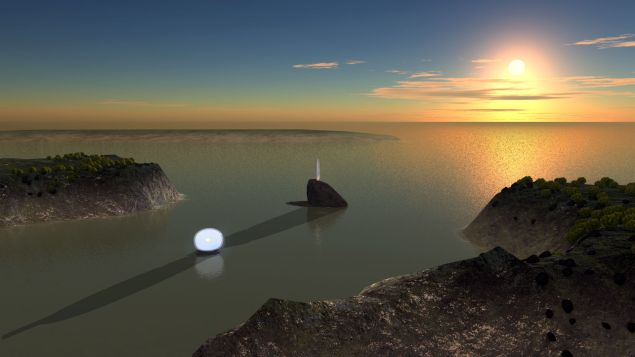 Primal Rhythm is comprised of two large sculptures, Moon Stone, a sphere that changes color in response to the ebb and flow of the tides, and Sun Pillar, a translucent column set atop a rock promontory and positioned to cast a symbolic shadow across the bay during the winter solstice.