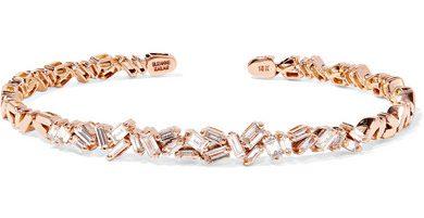 Suzanne Kalan 18-karat rose gold diamond cuff, $7,400, Net-A-Porter.com