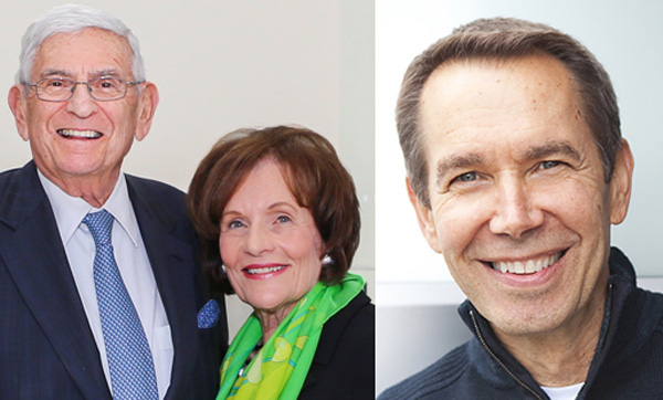 From left: Eli and Edythe Broad and Jeff Koons.