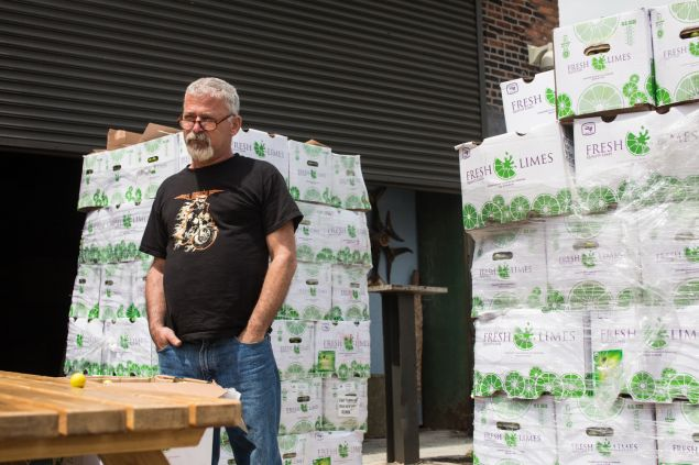 Steve Tarpin, of Steve's Key Lime Pies, in front of his shop in Red Hook, Brooklyn. 5/24/2016- Photo by Aaron Adler for The Commercial Observer