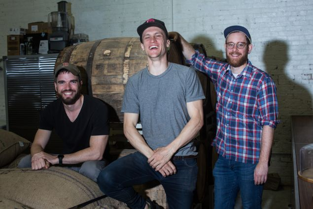 Rakka's first employee, Peter Gray, left, with co-founders Ryan Cheney and Nate Hodge.