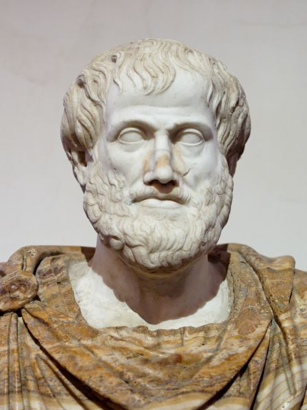 A marble Roman copy of a Greek bronze bust of Aristotle by Lysippus, (c. 330 BC).