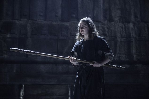 Maise Williams as Arya Stark.