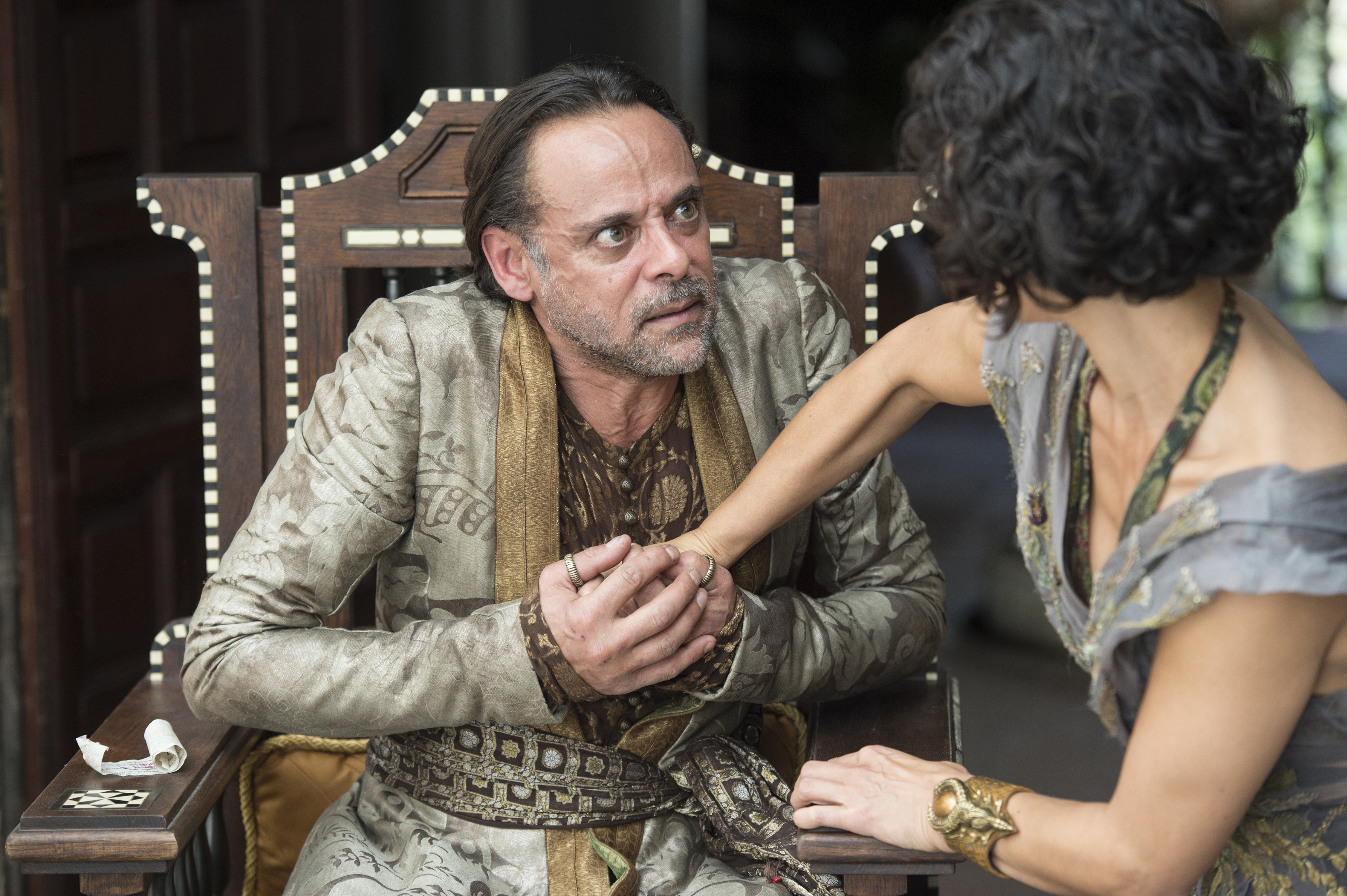 Alexander Siddig and Indira Varma in Game of Thrones.