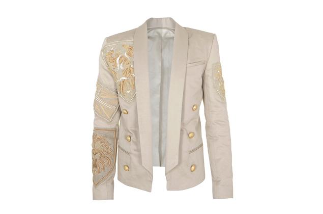 Balmain Embellished Cotton Jacket, $11,100, Balmain Soho, 100 Wooster Street, New York, NY 10012, (212) 966-4200