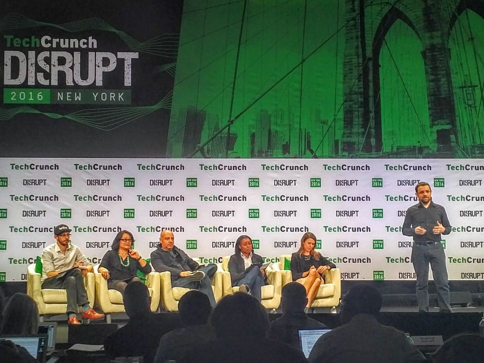 Sebastian Serrano presents Ripio at TechCrunch Disrupt on Tuesday.