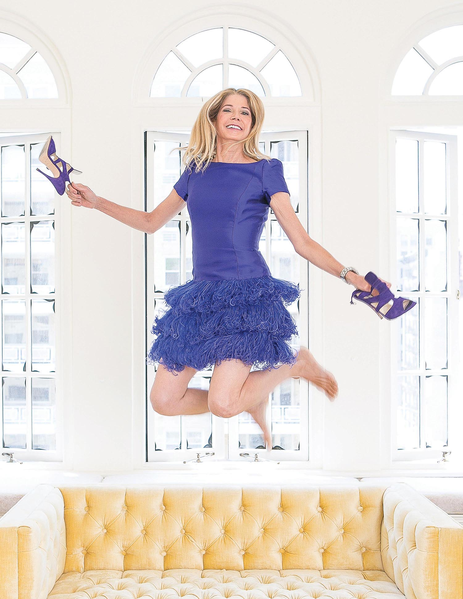 Candace Bushnell in her favorite purple dress.