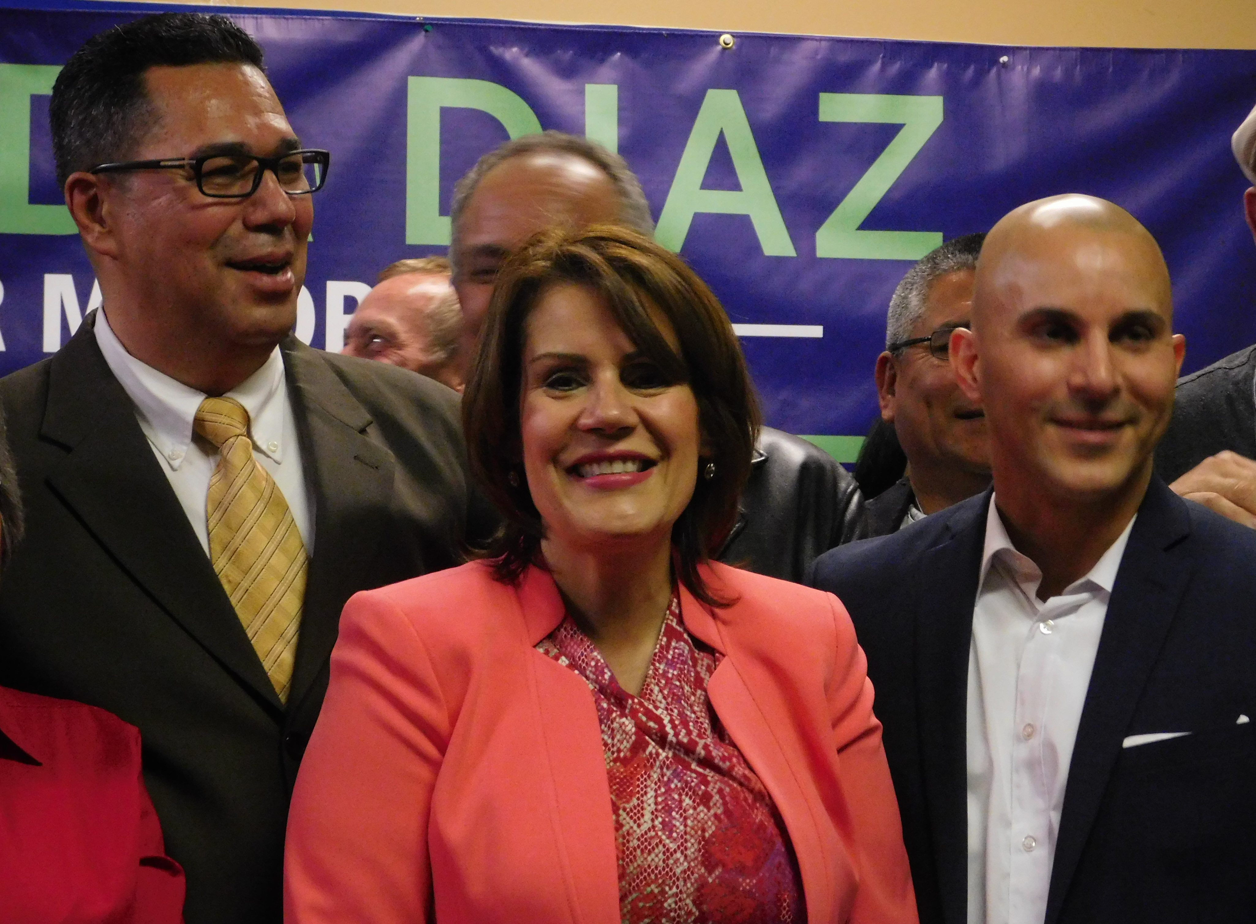 Diaz with running mates Fernando Irizarry and Jelmin Caba in May.