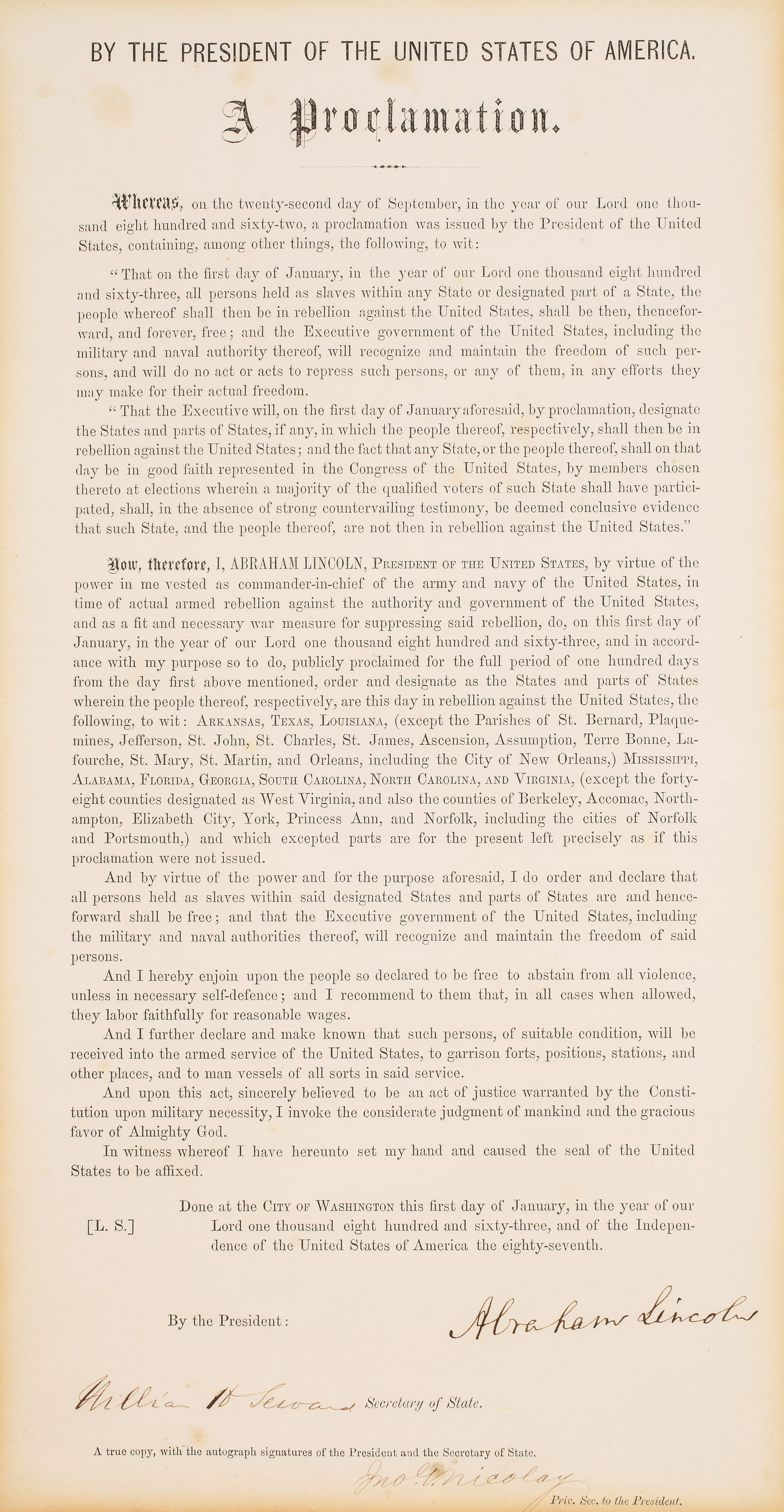 The copy of the Emancipation Proclamation that will be offered for sale.