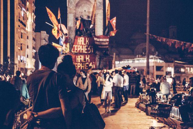 Taksim Square at night.