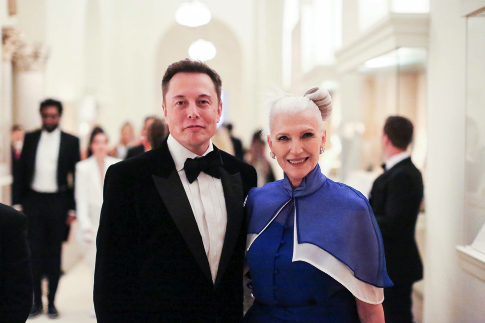 Elon Musk and his mother Maye Musk at the Met Gala.
