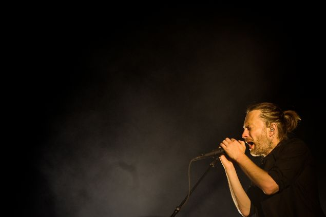 Thom Yorke, lead singer of the British band Radiohead, performs at the Optimus Alive music festival at Alges, on the outskirts of Lisbon, on July 15, 2012. The Optimus Alive music festival runs from July 13 to July 15. AFP PHOTO / PATRICIA DE MELO MOREIRA.