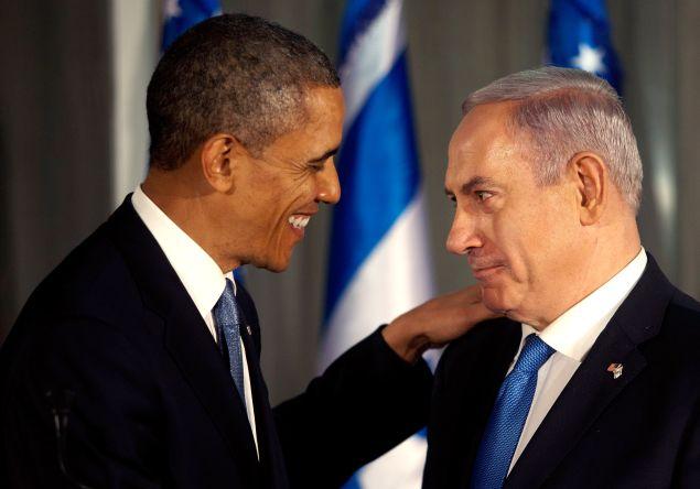 U.S. President Barack Obama (L) greets Israeli Prime Minister Benjamin Netanyahu during a press conference on March 20, 2013 in Jerusalem, Israel.