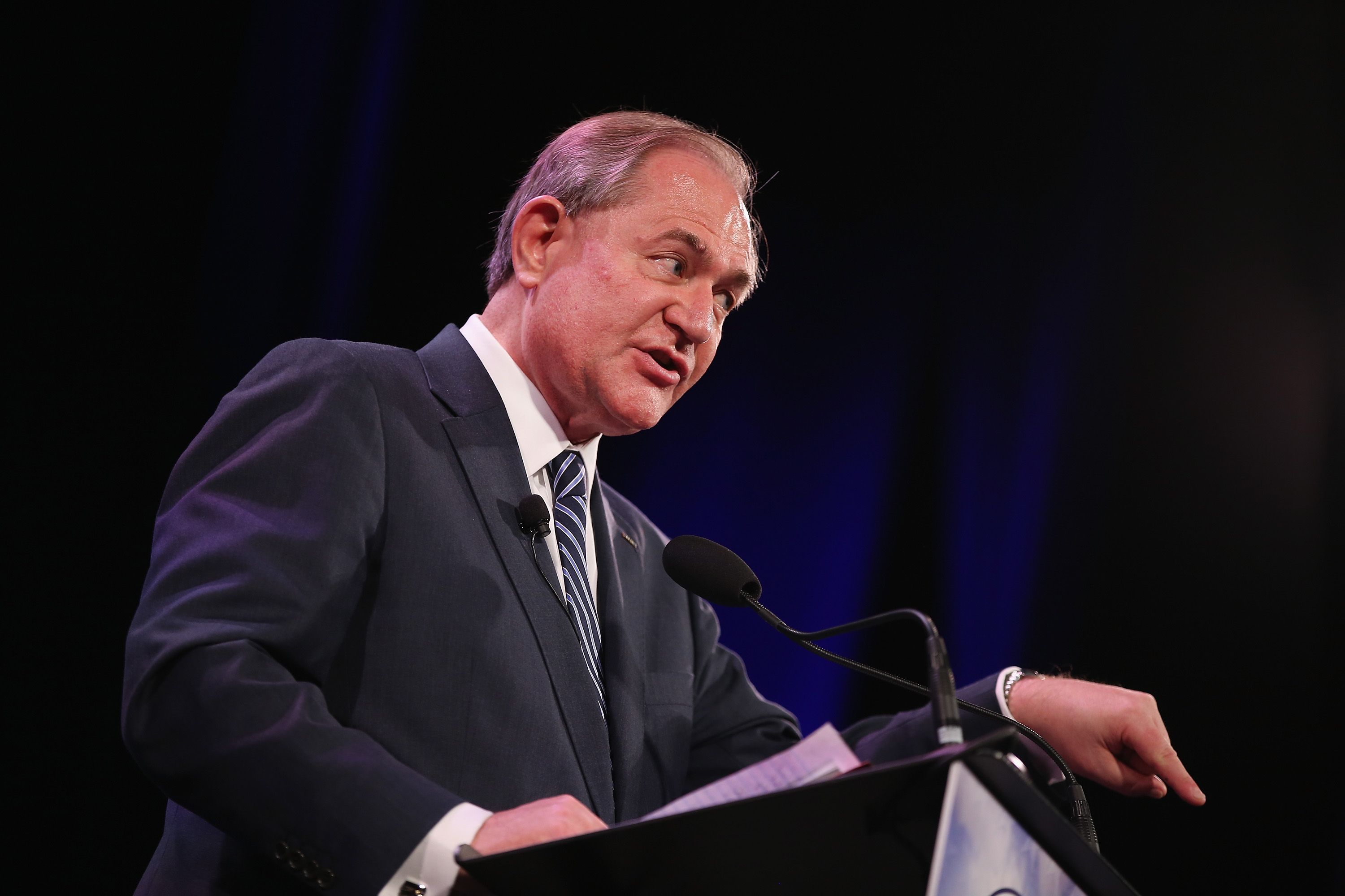 DES MOINES, IA - JANUARY 24: Former Virginia Gov. Jim Gilmore speaks to guests at the Iowa Freedom Summit on January 24, 2015 in Des Moines, Iowa. The summit is hosting a group of potential 2016 Republican presidential candidates to discuss core conservative principles ahead of the January 2016 Iowa Caucuses.