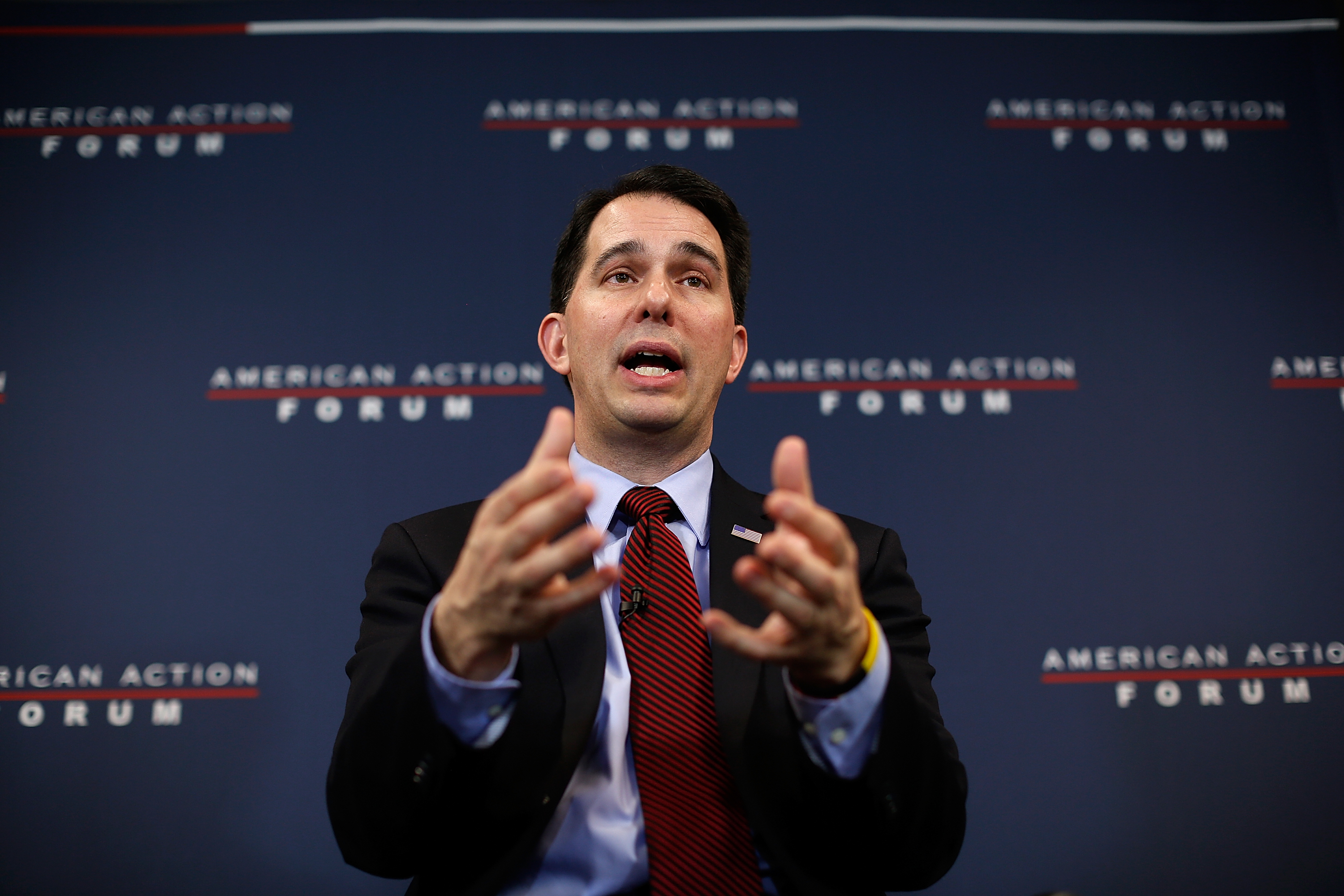 "WASHINGTON, DC - JANUARY 30: Wisconsin Governor Scott Walker speaks at the American Action Forum January 30, 2015 in Washington, DC. Earlier in the week Walker announced the formation of ""Our American Revival"", a new committee designed to explore the option of a presidential bid in 2016."