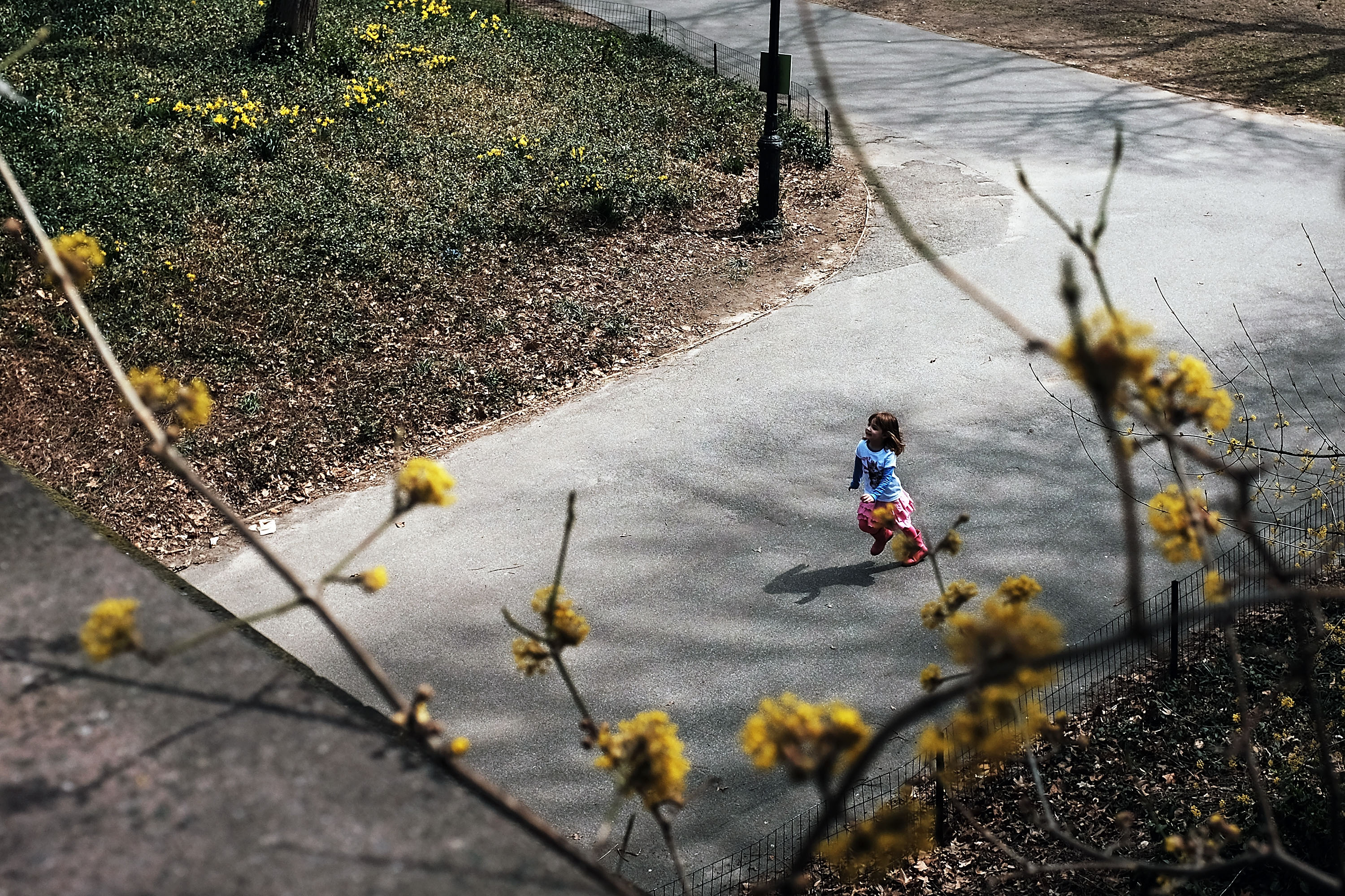 A child runs in Central Park.