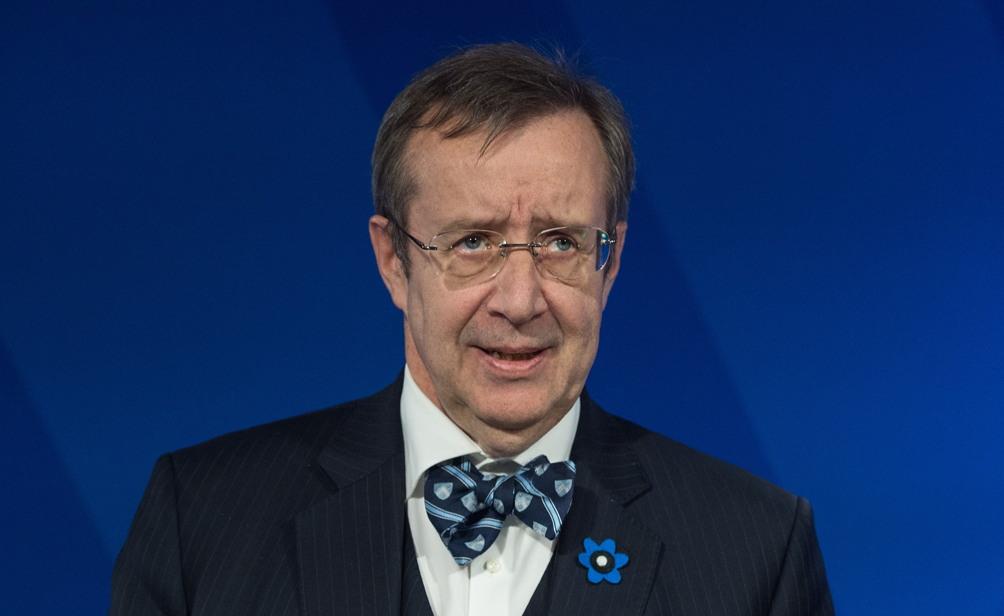 """Estonian President Toomas Ilves speaks at a talk entitled """"The Estonia Model: Why a Free and Secure Internet Matter """"at the Wilson Center in Washington, DC, on April 21, 2015. AFP PHOTO/NICHOLAS KAMM"""