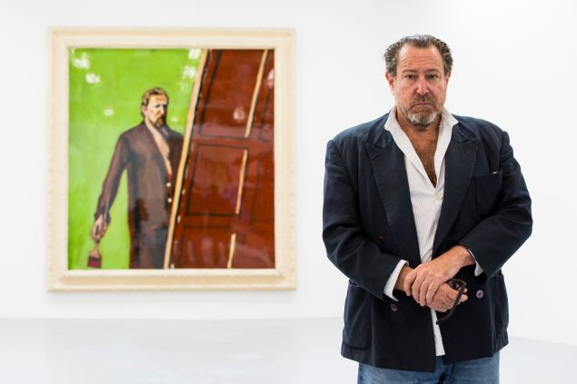 LONDON, ENGLAND - APRIL 24: American artist Julian Schnabel attends a photocall as he opens his first UK solo show of paintings in 15 years at The Dairy Art Centre on April 24, 2014 in London, England.