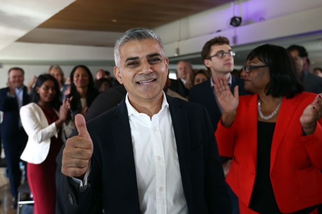 LONDON, ENGLAND - SEPTEMBER 11: Labour Member of Parliament for Tooting and London mayoral candidate, Sadiq Khan, gestures after winning the contest to become Labour's candidate to become London mayor at the Royal Festival Hall on September 11, 2015 in London, England. Mr Khan beat 5 other candidates to the position to stand in next years mayoral election.