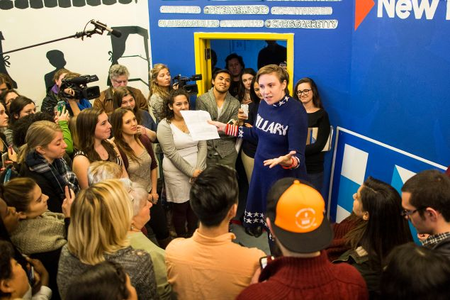 MANCHESTER, NH - JANUARY 08: Screenwriter and actress Lena Dunham speaks to a crowd at a Hillary Clinton campaign office in January 2016.