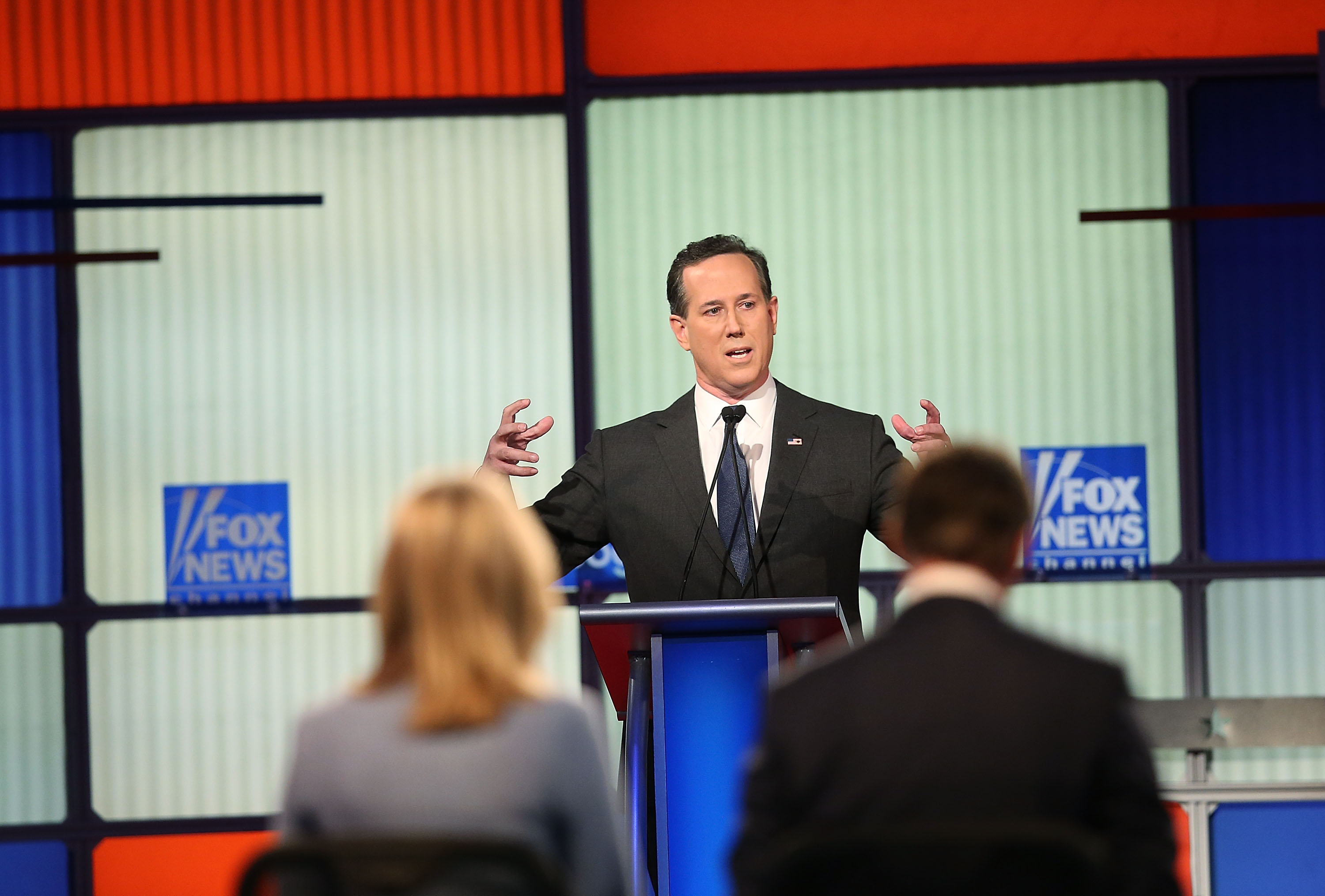 Rick Santorum participates in the Fox News - Google GOP Debate January 28, 2016 at the Iowa Events Center in Des Moines, Iowa. Residents of Iowa will vote for the Republican nominee at the caucuses on February 1.