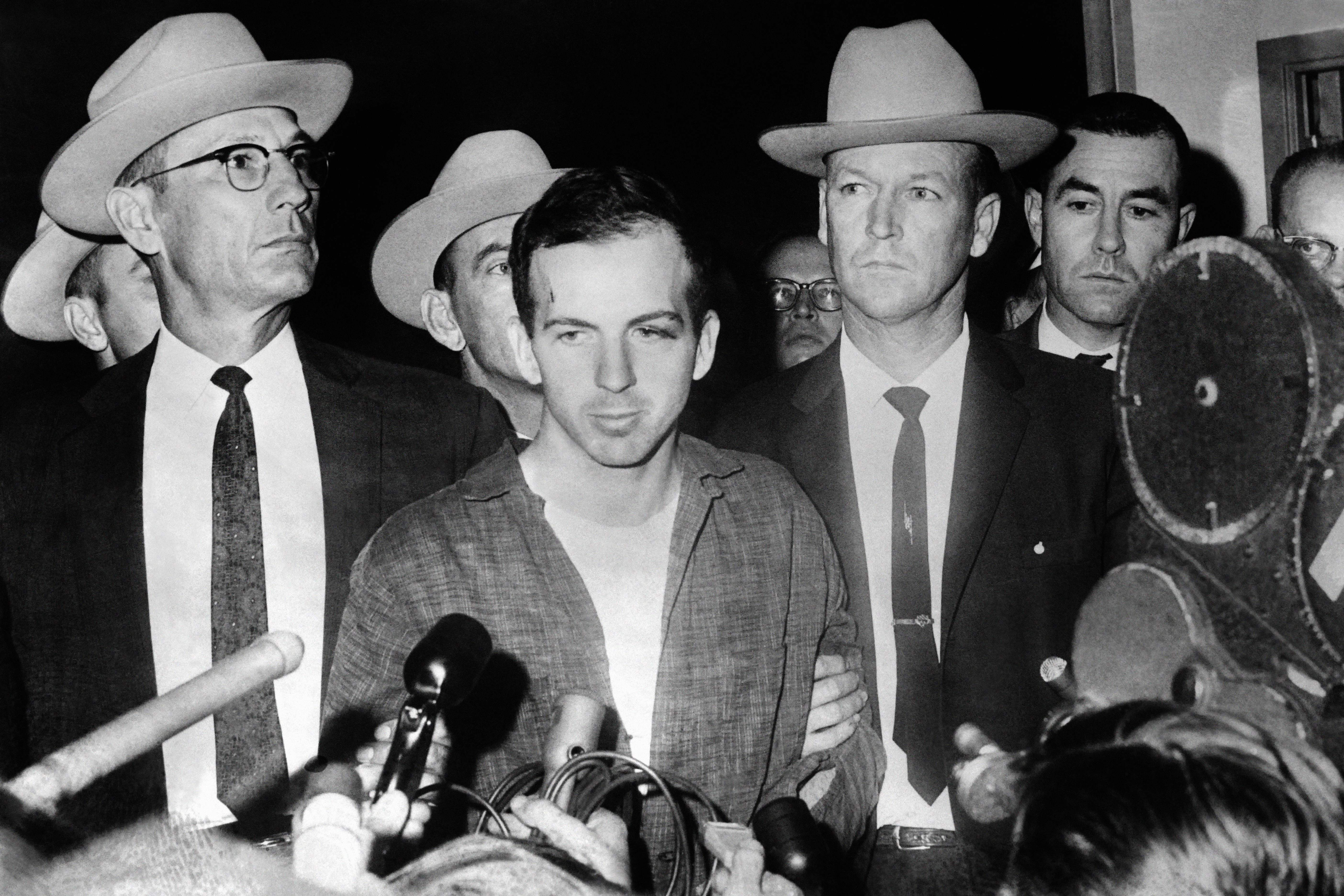 Picture dated 22 November 1963 of US President John F. Kennedy's murderer Lee Harvey Oswald during a press conference after his arrest in Dallas. Lee Harvey Oswald was killed by Jack Ruby on 24 November on the eve of Kennedy's burial.