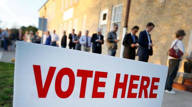 Voters line up to cast their ballots on Super Tuesday March 1, 2016 in Fort Worth, Texas. (Photo by Ron Jenkins/Getty Images)