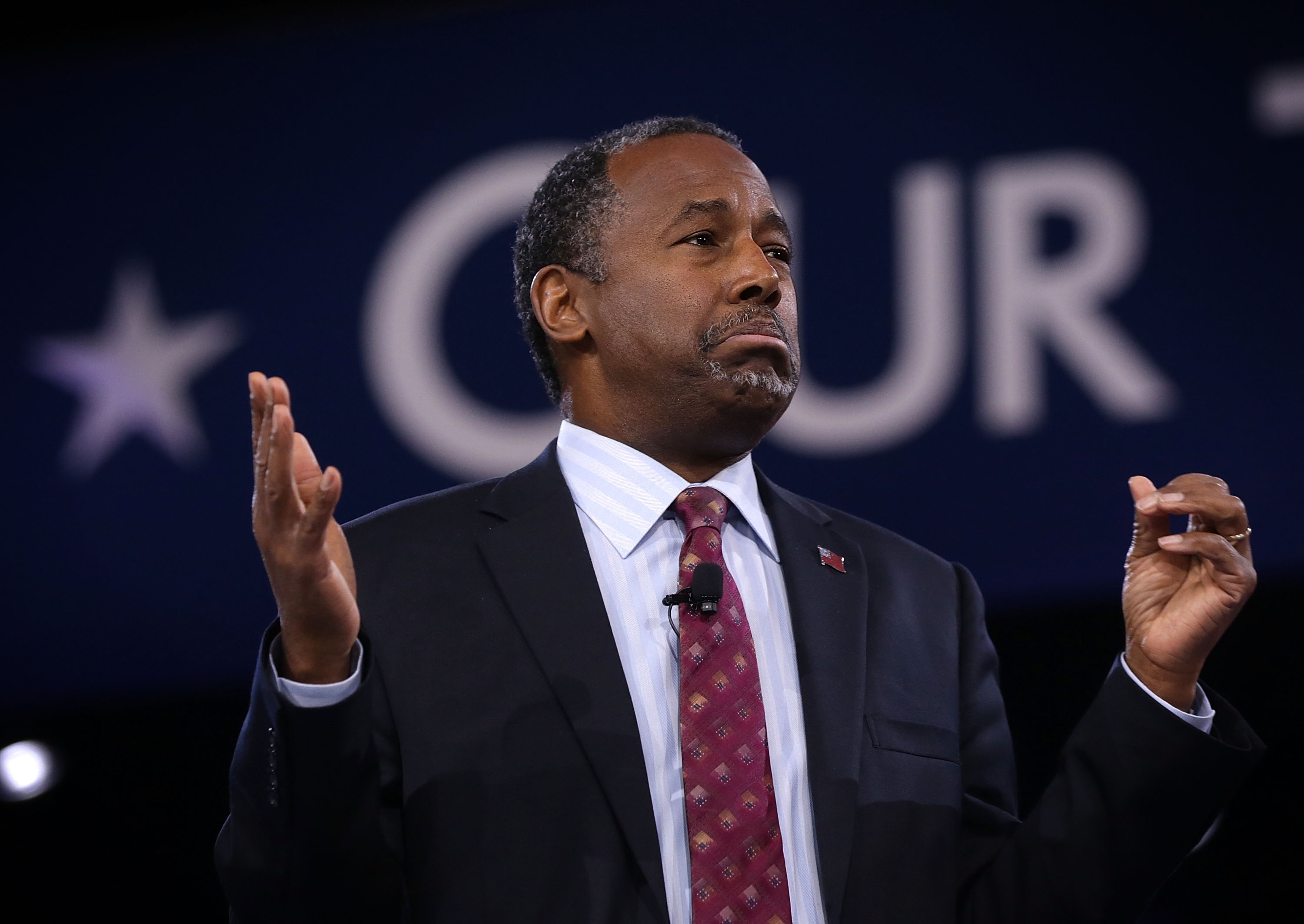 Republican presidential candidate Ben Carson speaks during CPAC 2016 March 5, 2016 in National Harbor, Maryland. Carson said he is dropping out of the presidential race.