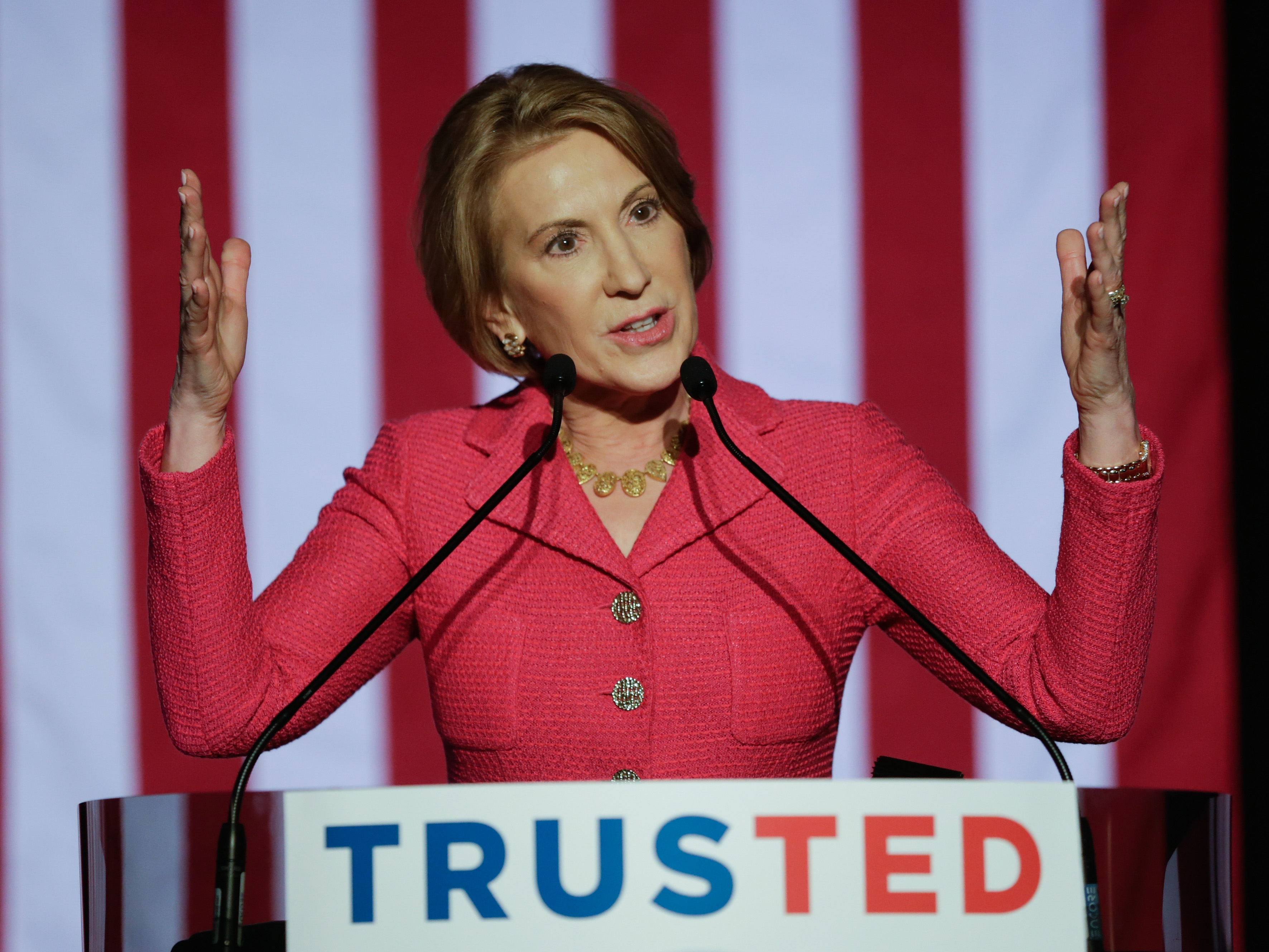 HOUSTON, TX - MARCH 15: Carly Fiorina speaks at a watch party for Republican presidential candidate Sen. Ted Cruz (R-TX) on March 15, 2016 in Houston, Texas. Cruz is in a tight race with Donald Trump in the Missouri GOP primary, while Trump took Florida, North Carolina, and Illinois. Gov. John Kasich won his home state of Ohio.