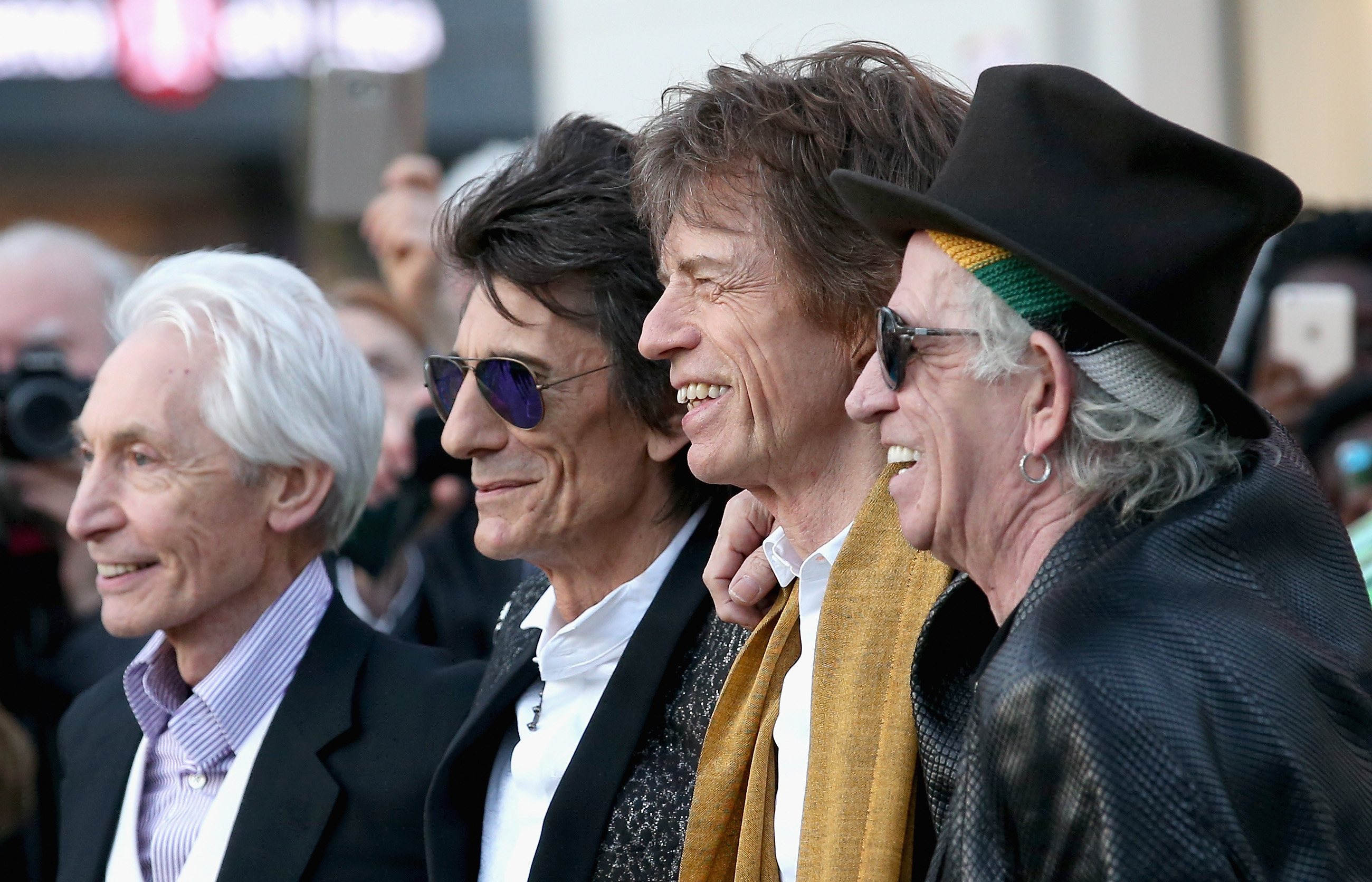 Charlie Watts, Ronnie Wood, Mick Jagger and Keith Richards arrive for the private view of 'The Rolling Stones: Exhibitionism' at the Saatchi Gallery on April 4, 2016 in London, England.