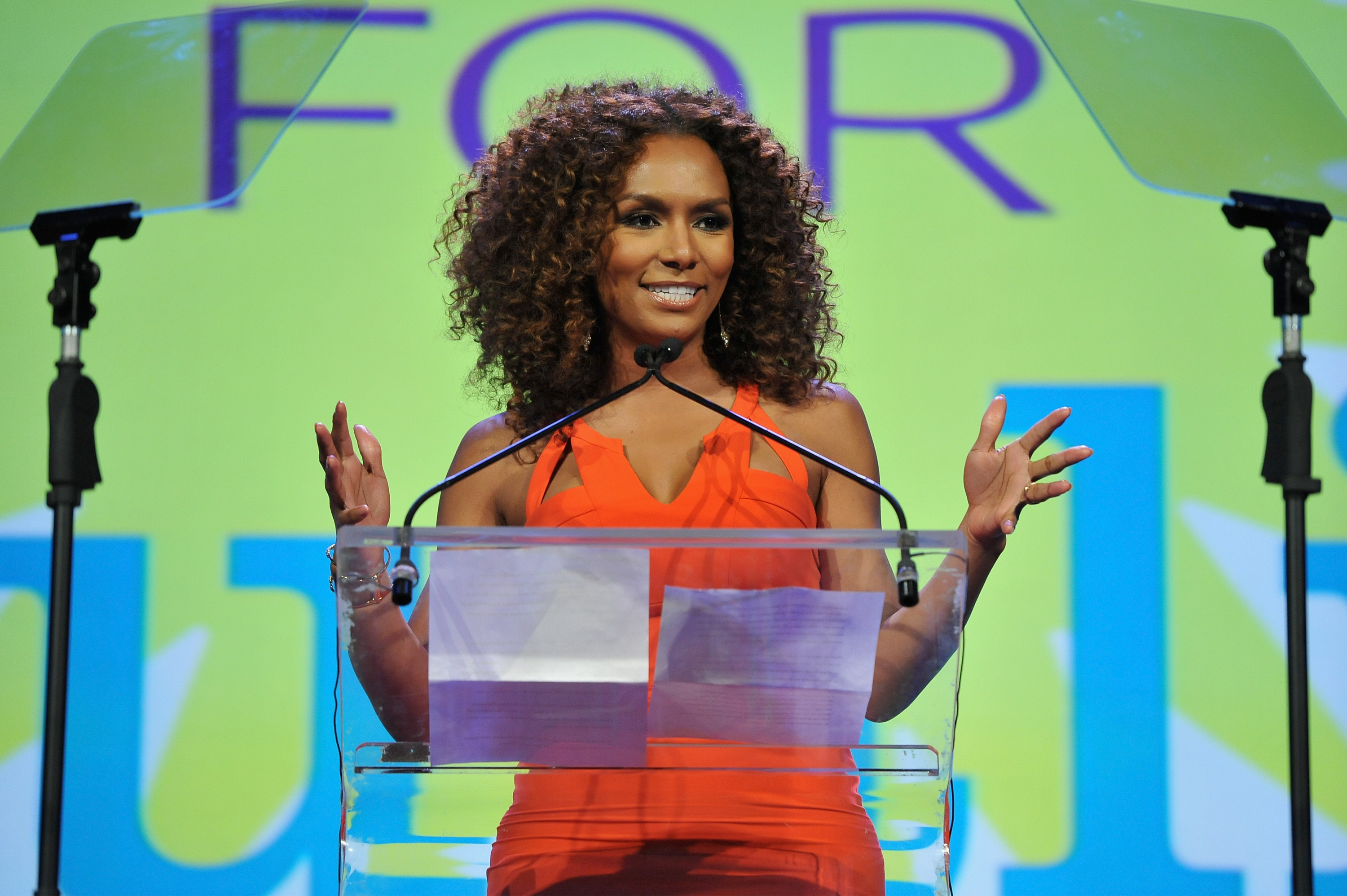 NEW YORK, NEW YORK - APRIL 04: Writer Janet Mock speaks onstage at PFLAG National's eighth annual Straight for Equality awards gala at Marriot Marquis on April 4, 2016 in New York City.