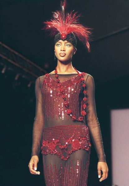 Naomi Campbell in a 1996 Anna Sui runway show