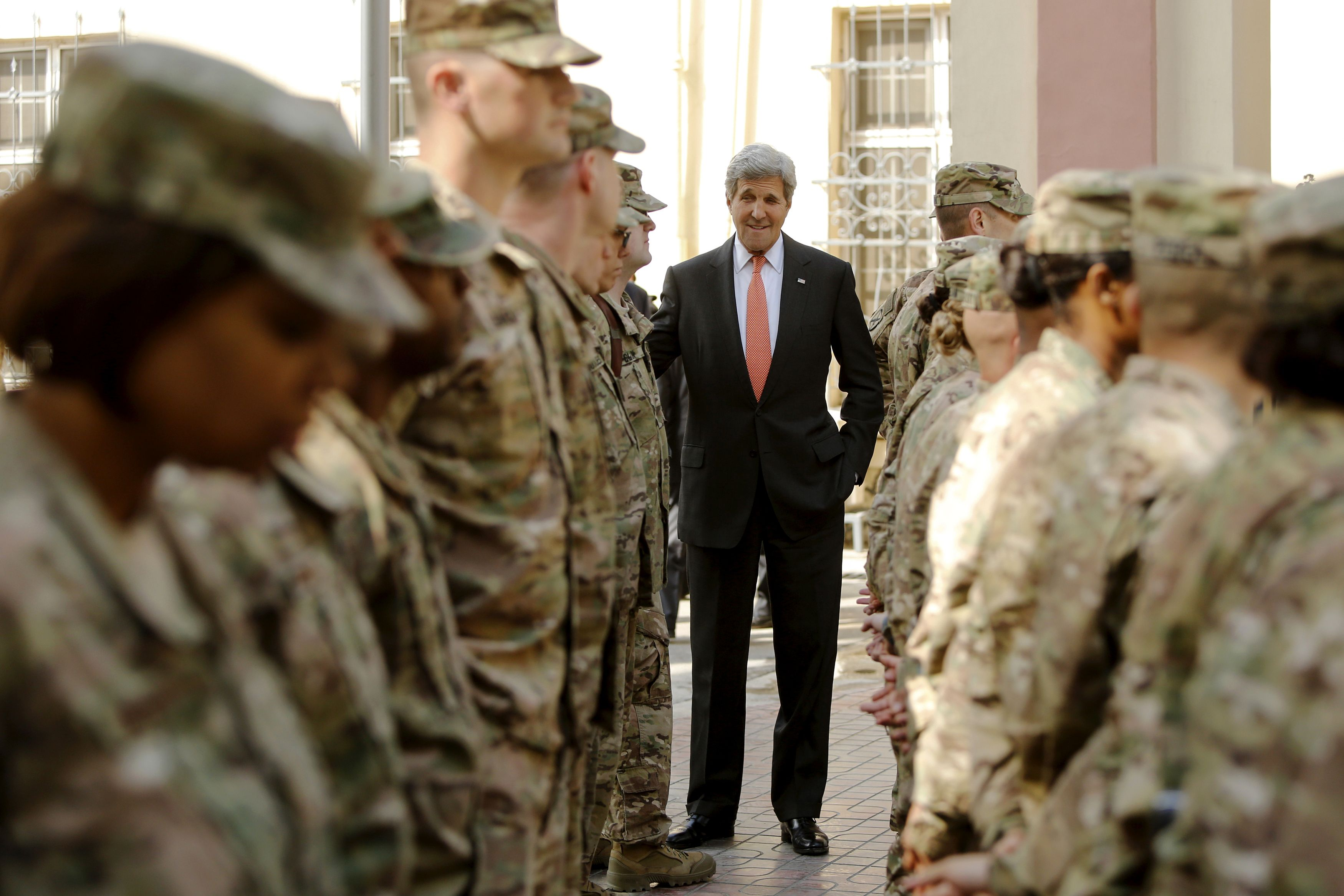 US Secretary of State John Kerry meets with US military personnel at Resolute Support Headquarters in Kabul on April 9, 2016.