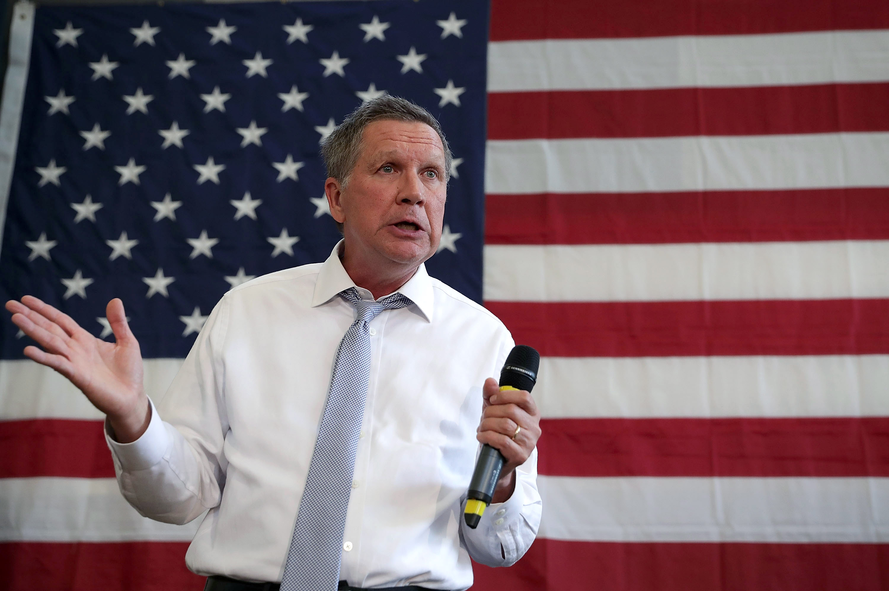 ROCKVILLE, MD - APRIL 25: Republican presidential candidate and Ohio Governor John Kasich speaks during a campaign event April 25, 2016 in Rockville, Maryland. Governor Kasich continued to seek for his party??s nomination for the general election.